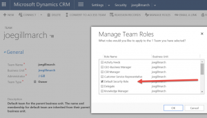 Default security role in Dynamics CRM Joe Gill Dynamics 365 Consultant