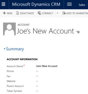 Simple  Dynamics CRM Console Application Joe Gill Dynamics 365 Consultant